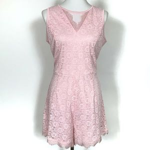 Bebe NWT Pink Lace Romper Play Suit Sleeveless